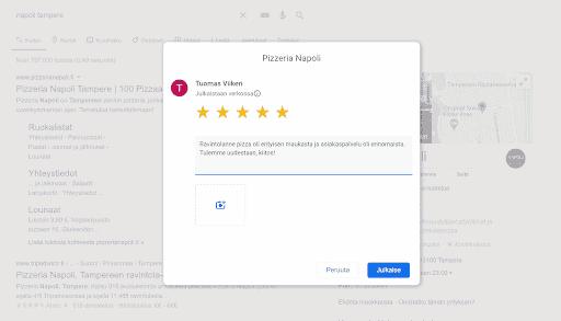 Esimerkki Google My Business -palvelussa annettavasta arvostelusta.