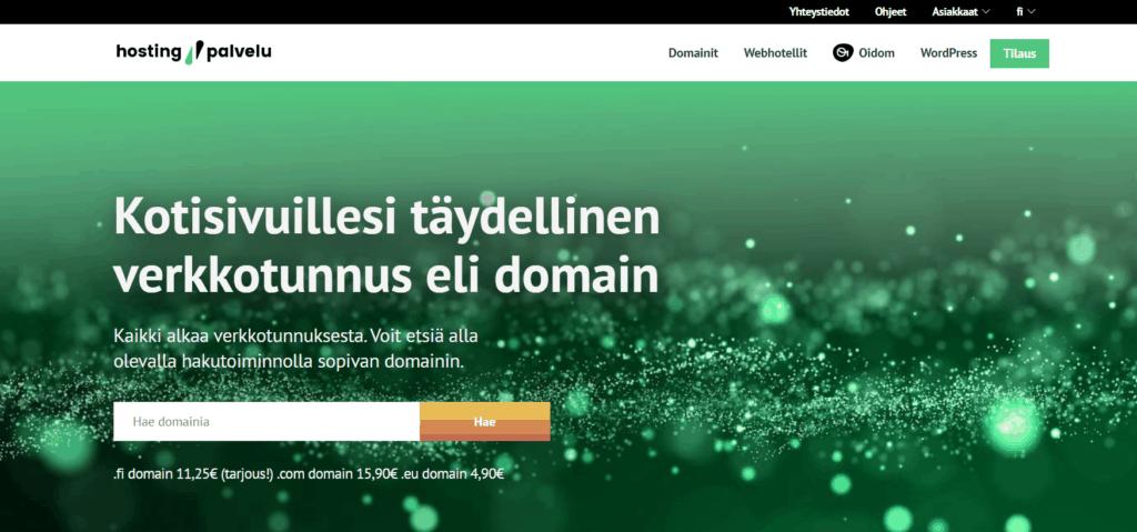 Kuva domainvälittäjä Suomen Hostingpalvelun etusivulta.