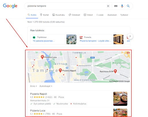 Google My Business yritysprofiilien listaus paikallisista yrityksistä.