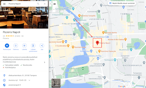 Google My Business yritysprofiili Google Maps -palvelussa.