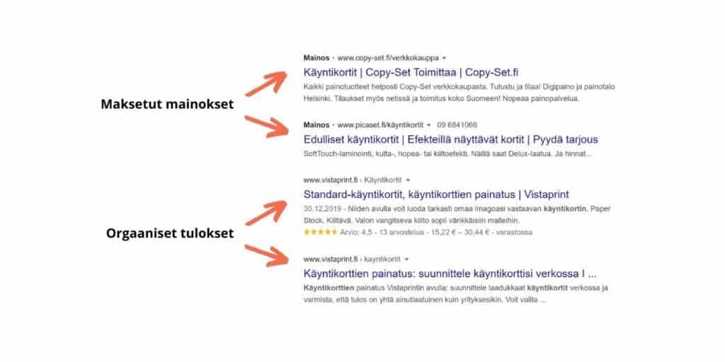Hakukoneoptimointiin panostaneen nettisivut näkyvät Googlessa maksettujen mainosten jälkeen