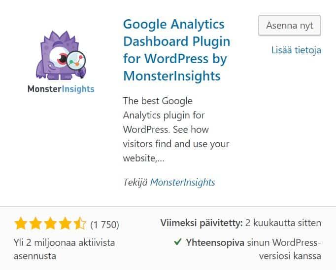 Google Analyticsin asentamisen lisäosa MonsterInsights